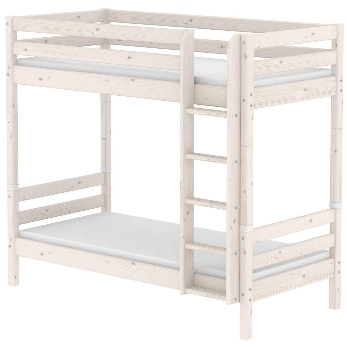 Mitwachsendes Etagenbett 90x190 cm-gerade Leiter CLASSIC Flexa whitewash