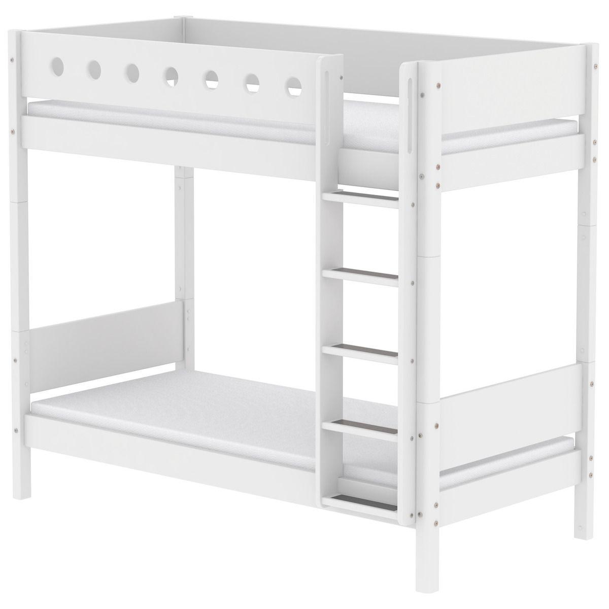 Mitwachsendes Etagenbett 90x190 cm-gerade Leiter WHITE Flexa weiß