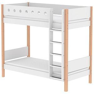 Mitwachsendes Etagenbett 90x200 cm-gerade Leiter WHITE Flexa natur-weiß