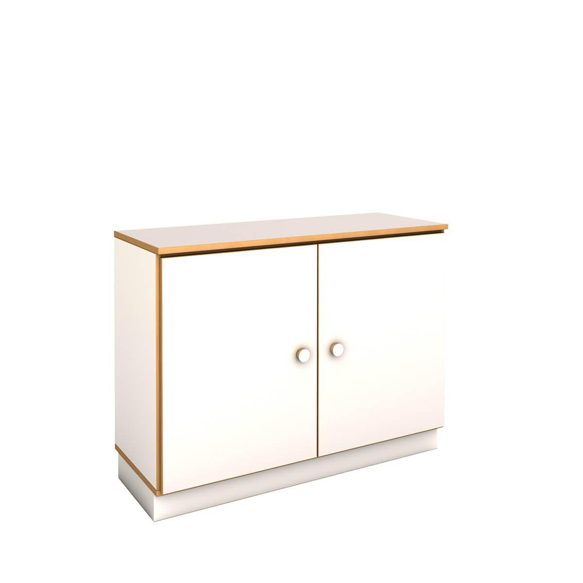 niedriger breiter Schrank  DECOR Debreuyn - Melamin weiß mit Buchenkante