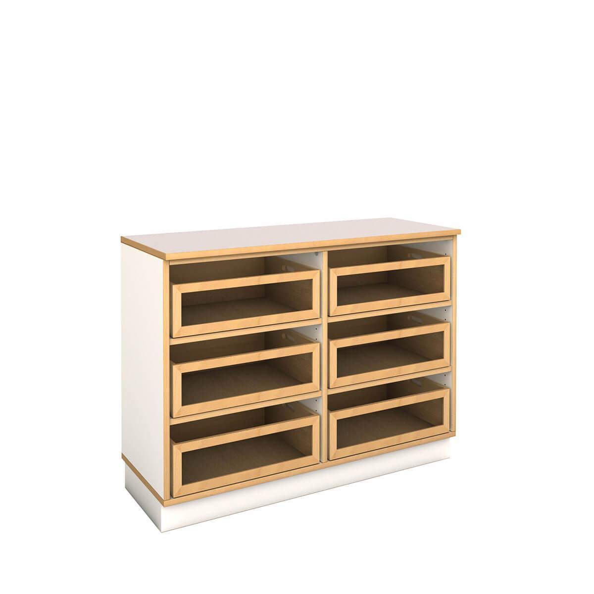 niedriges breites Regal mit Kisten DECOR Debreuyn - Melamin weiß mit Buchenkante