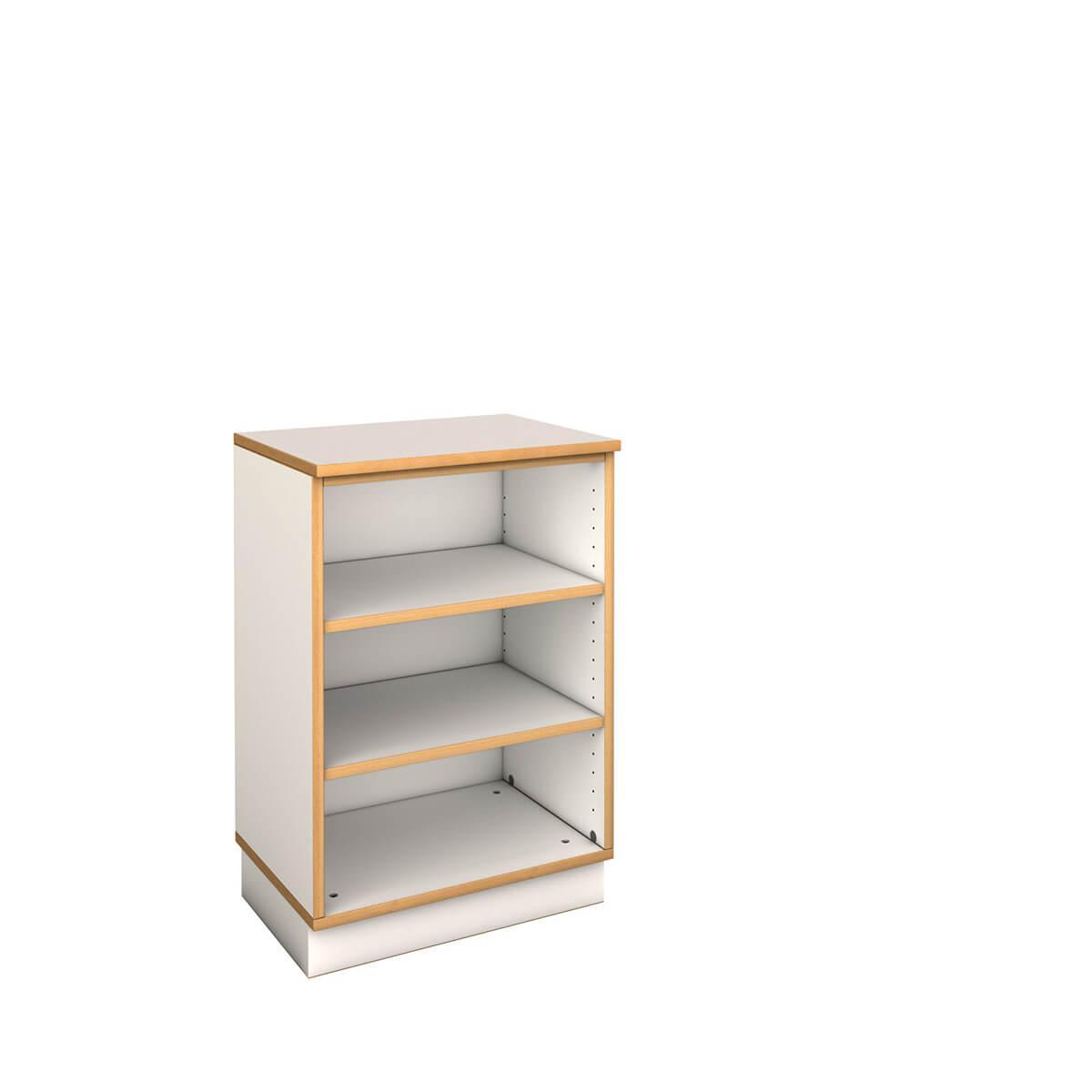 niedriges schmales Regal  DECOR Debreuyn - Melamin weiß mit Buchenkante