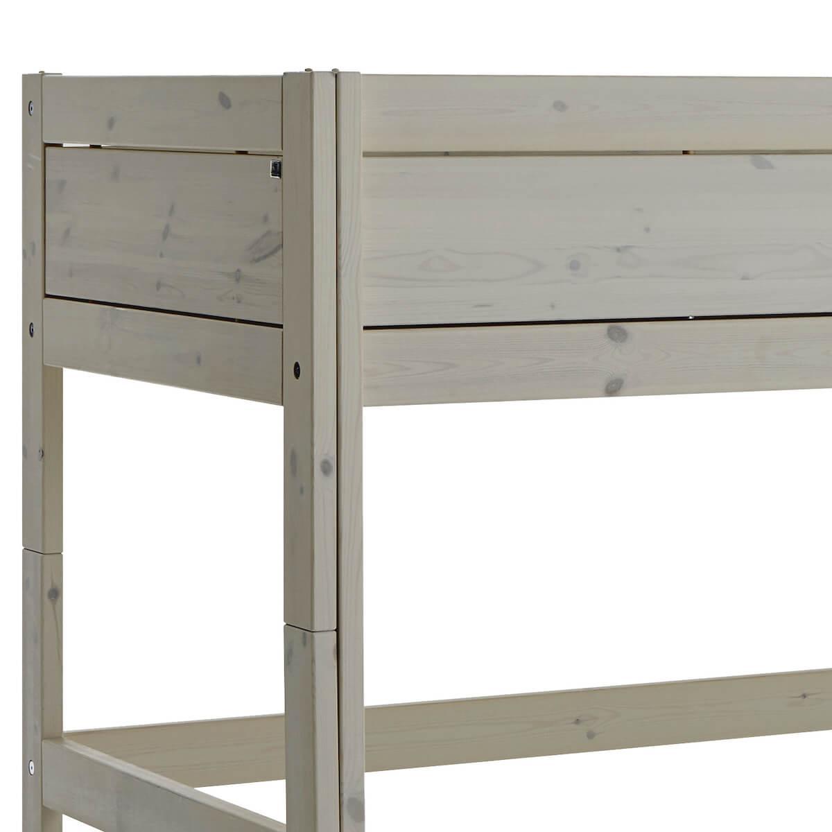 Niedriges Spielbett 90x200cm mit Rollboden gerade Leiter Lifetime greywash