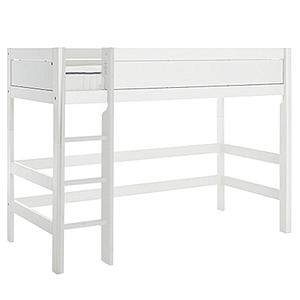 Niedriges Spielbett 90x200cm mit Rollboden gerade Leiter Lifetime Weiß