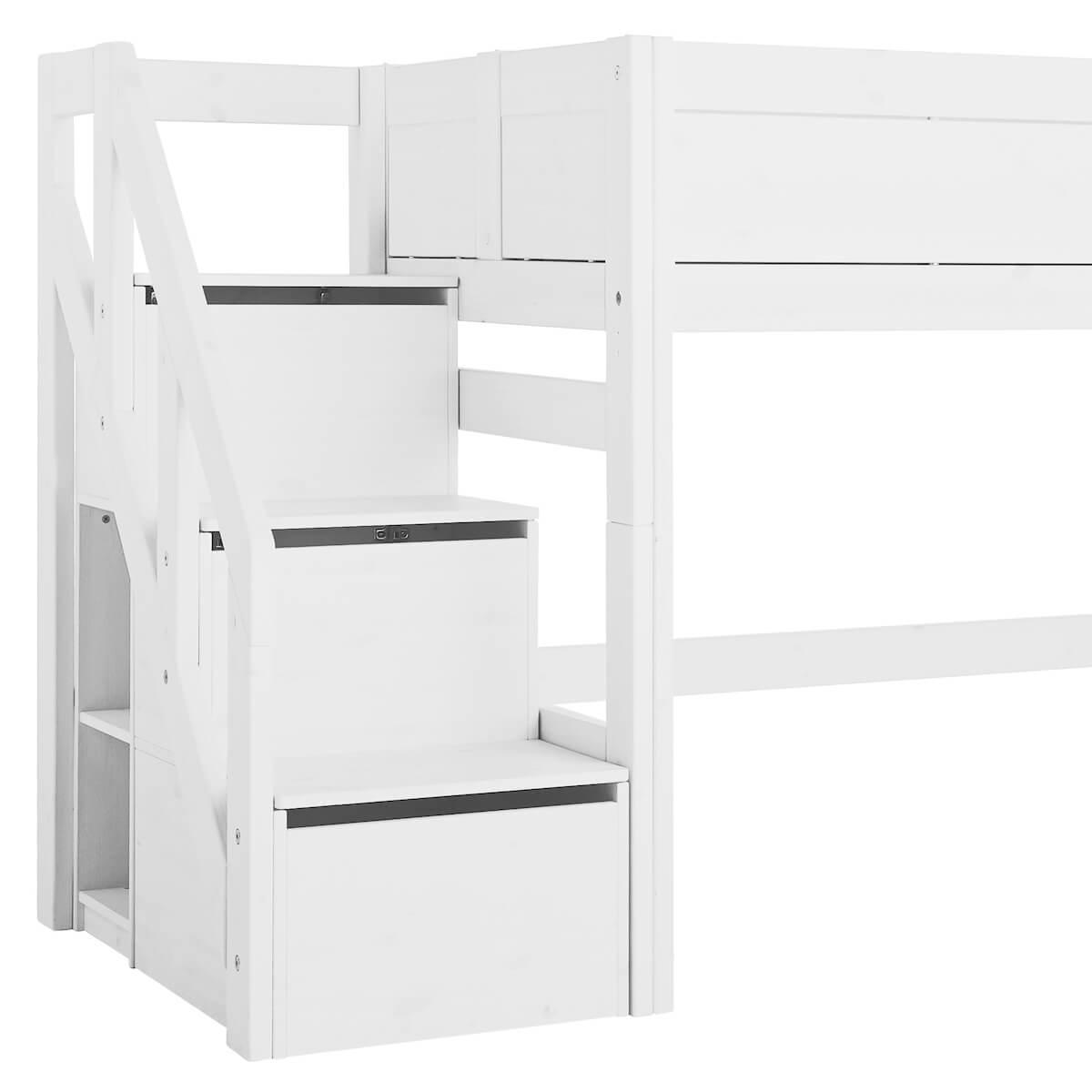 Niedriges Spielbett 90x200cm Treppenmodul Lifetime Blanc