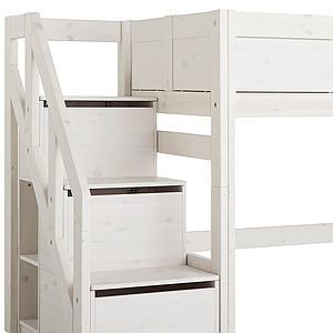 Niedriges Spielbett 90x200cm Treppenmodul Lifetime whitewash