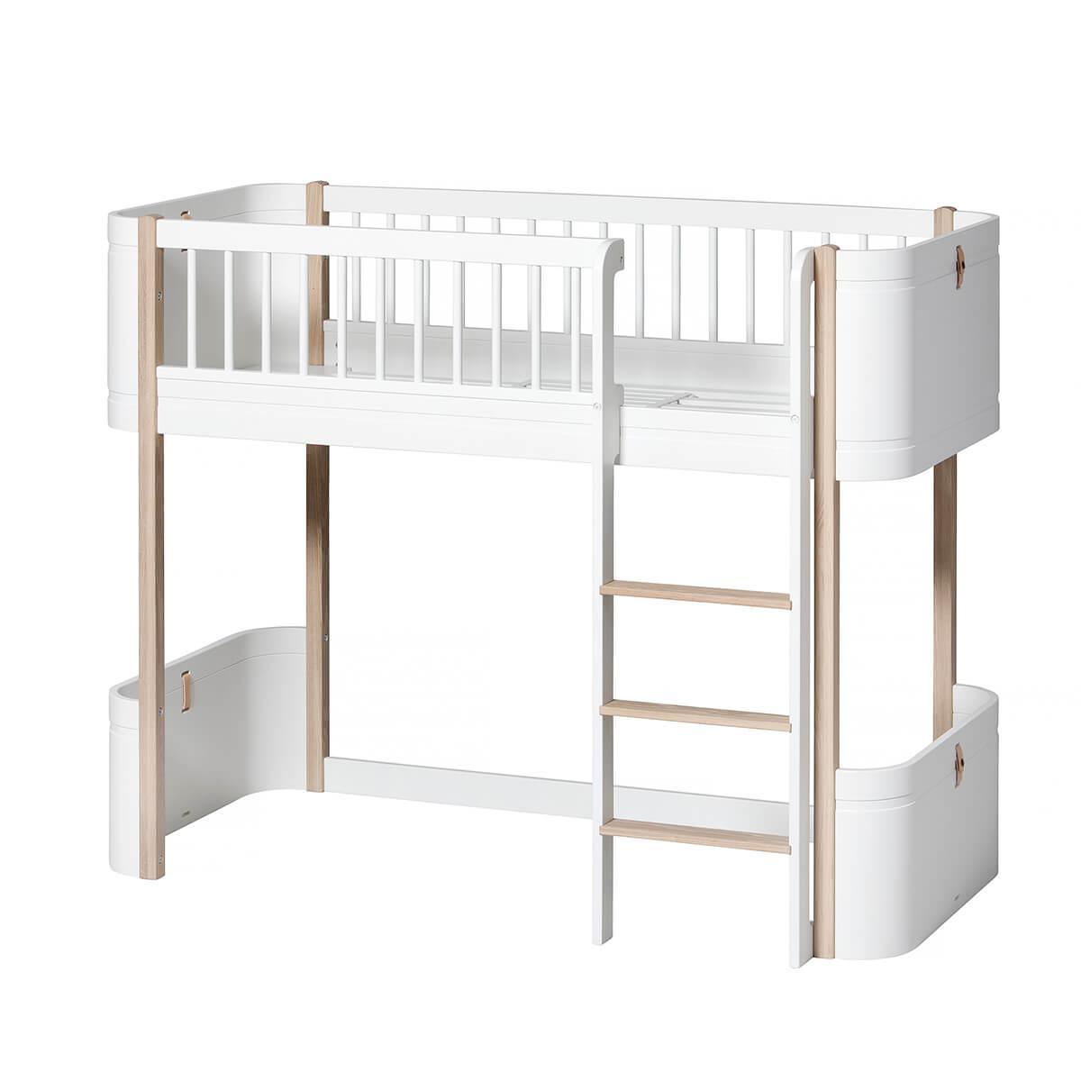 Niedriges Spielbett mitwachsend 68x162cm MINI+ WOOD Oliver Furniture weiß-Eiche