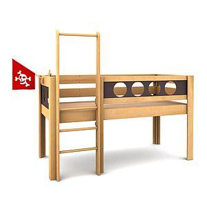 Pirat halbhohes Bett DELUXE de Breuyn geölt-Füllungen braun