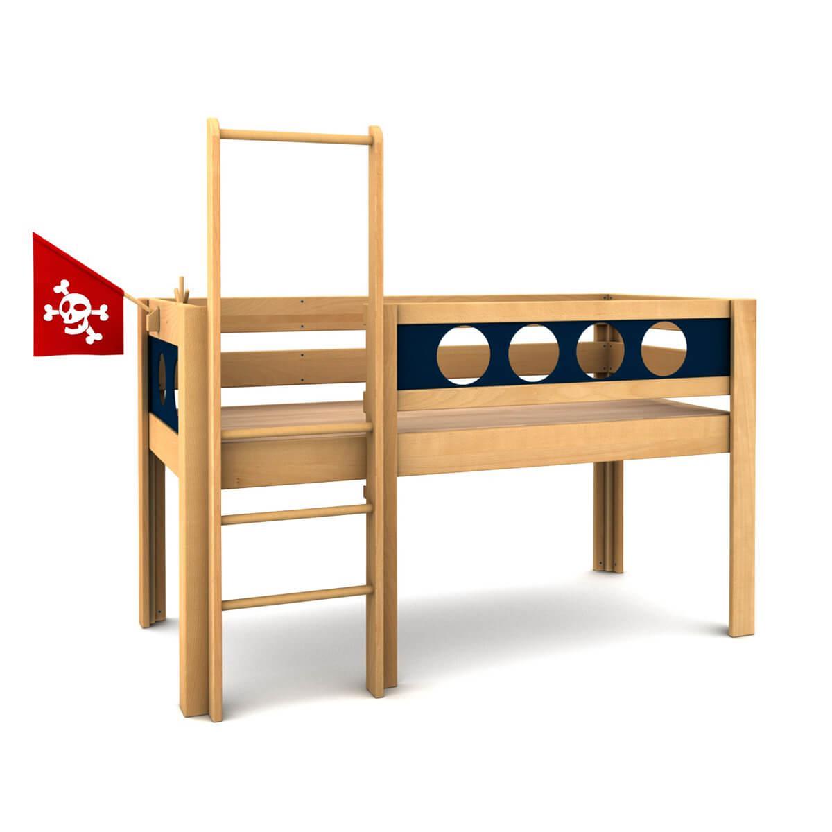 Pirat halbhohes Bett DELUXE de Breuyn geölt-Füllungen dunkelblau