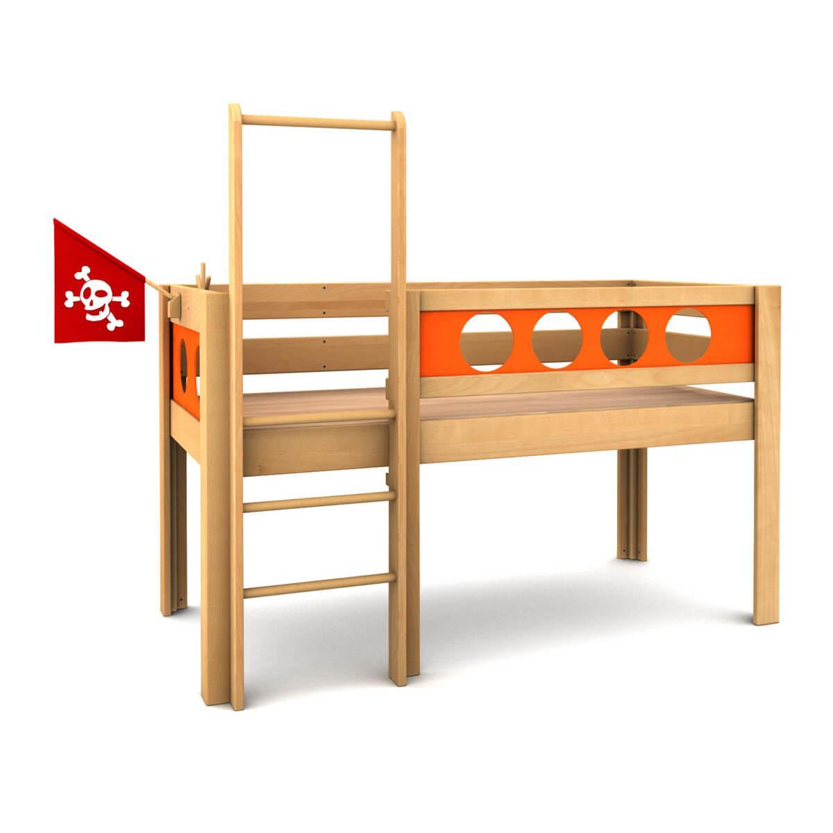 Pirat halbhohes Bett DELUXE de Breuyn geölt-Füllungen orange