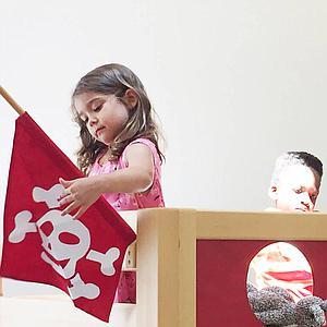 Pirat halbhohes Bett DELUXE de Breuyn geölt-Füllungen rot