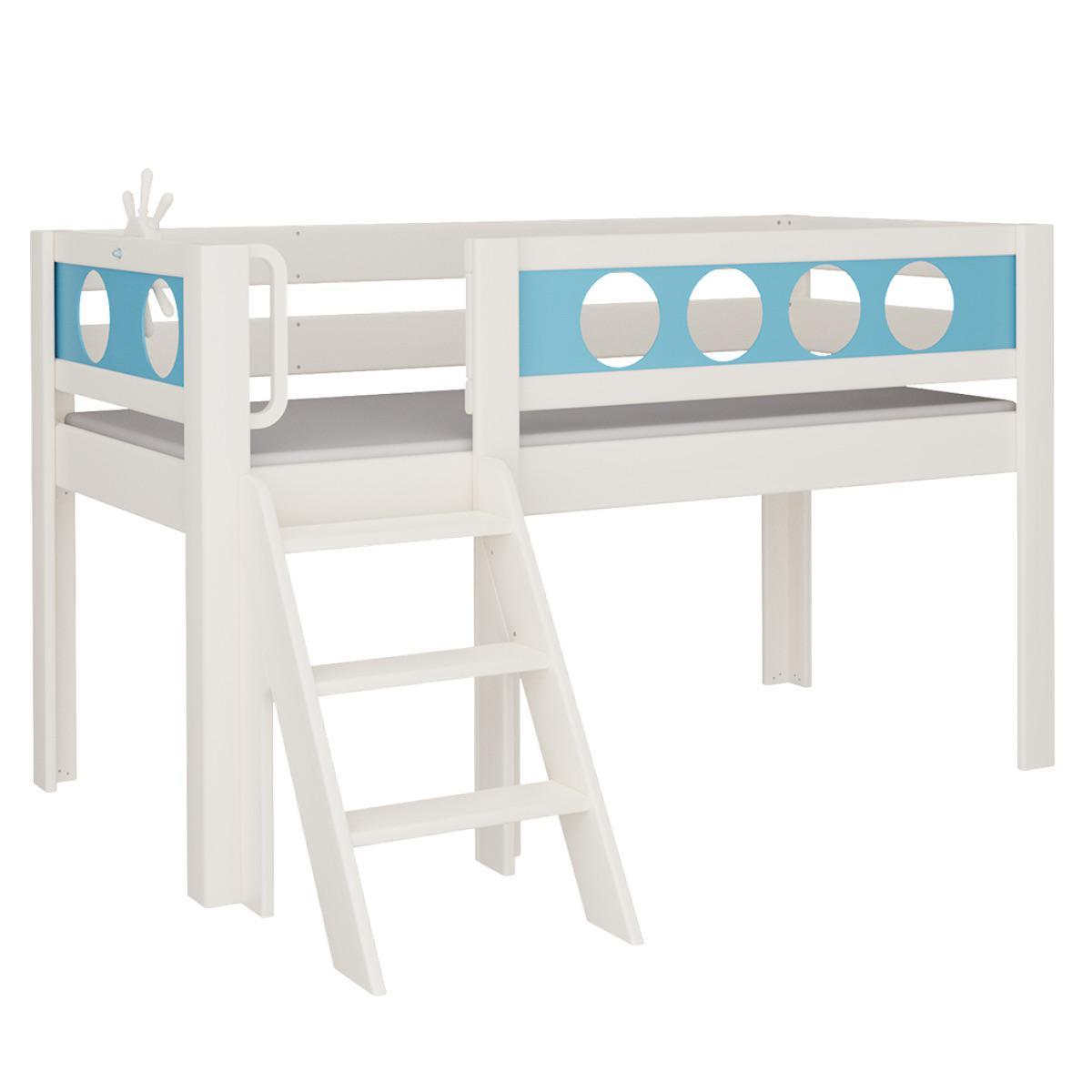 Pirat halbhohes Bett mit Treppe DELUXE De Breuyn weiß Füllungen blau