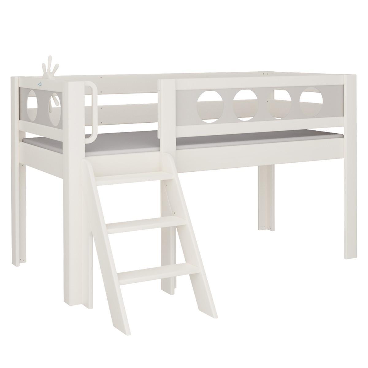Pirat halbhohes Bett mit Treppe DELUXE De Breuyn weiß Füllungen grau