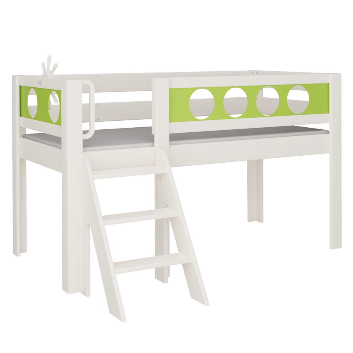 Pirat halbhohes Bett mit Treppe DELUXE De Breuyn weiß Füllungen grün