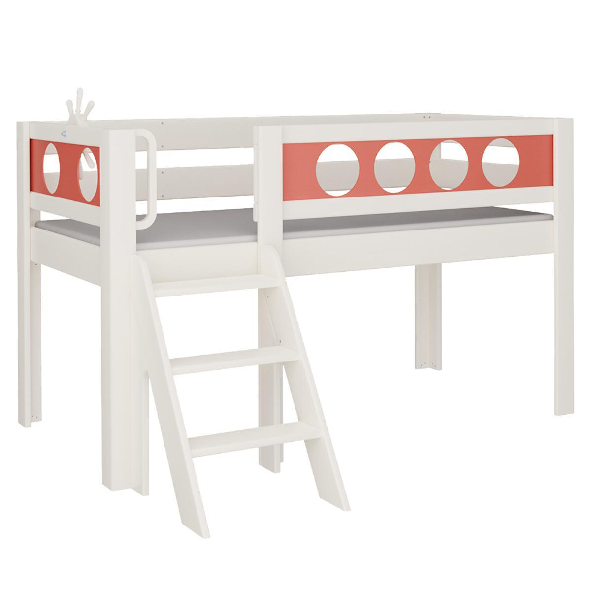 Pirat halbhohes Bett mit Treppe DELUXE De Breuyn weiß Füllungen rot