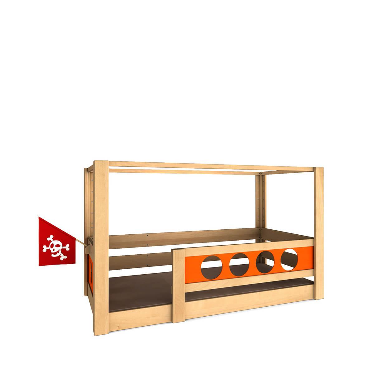 Pirat Himmelbett DELUXE de Breuyn geölt-Füllungen orange