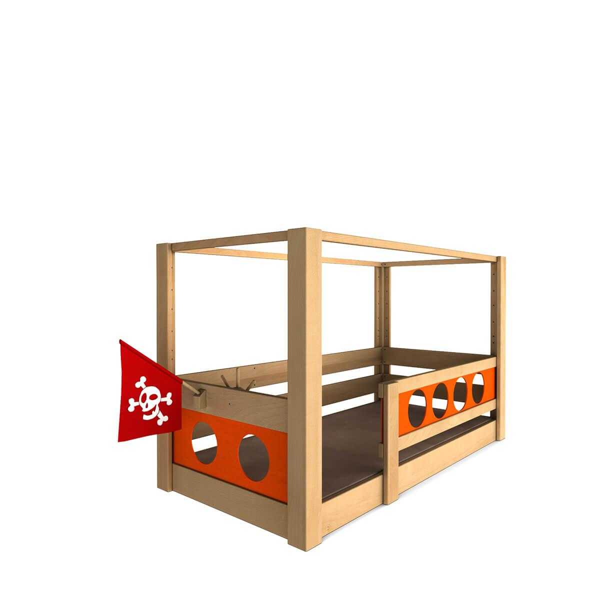 Pirat Himmelbett DELUXE Debreuyn geölt - Füllungen orange