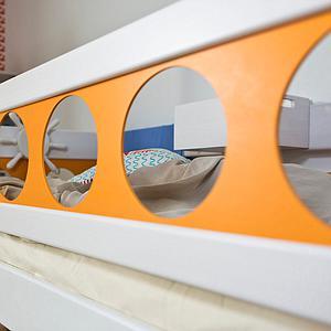 Pirat Himmelbett DELUXE Debreuyn weiss - Füllungen orange