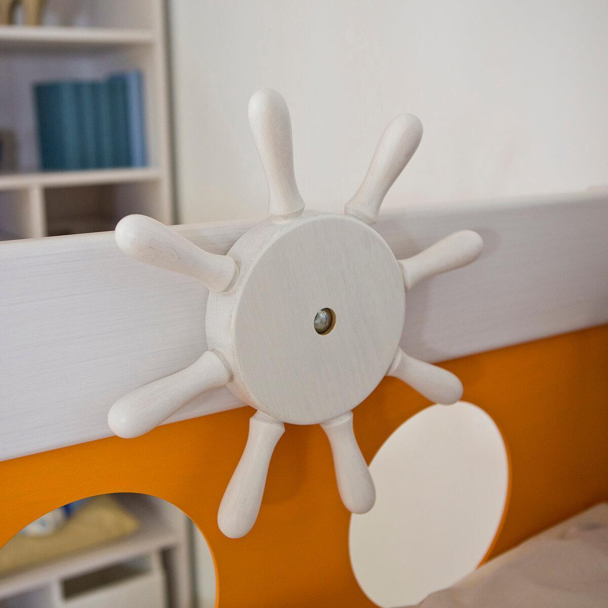 Pirat Hochbett DELUXE Debreuyn weiss - Füllungen orange