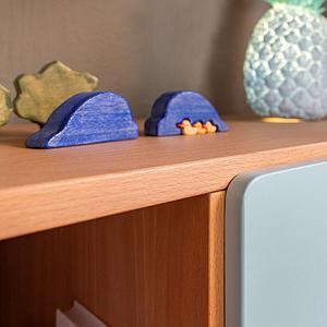 Regal halbhoch 78cm zweigeteilt-zwei Einlegeböden DESTYLE Debreuyn Buchenfurnierte Spanplatte natur geölt
