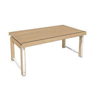 Schreibtisch durchgehende Platte ZIGGY de Breuyn Buche massiv-geölt Gestell weiß