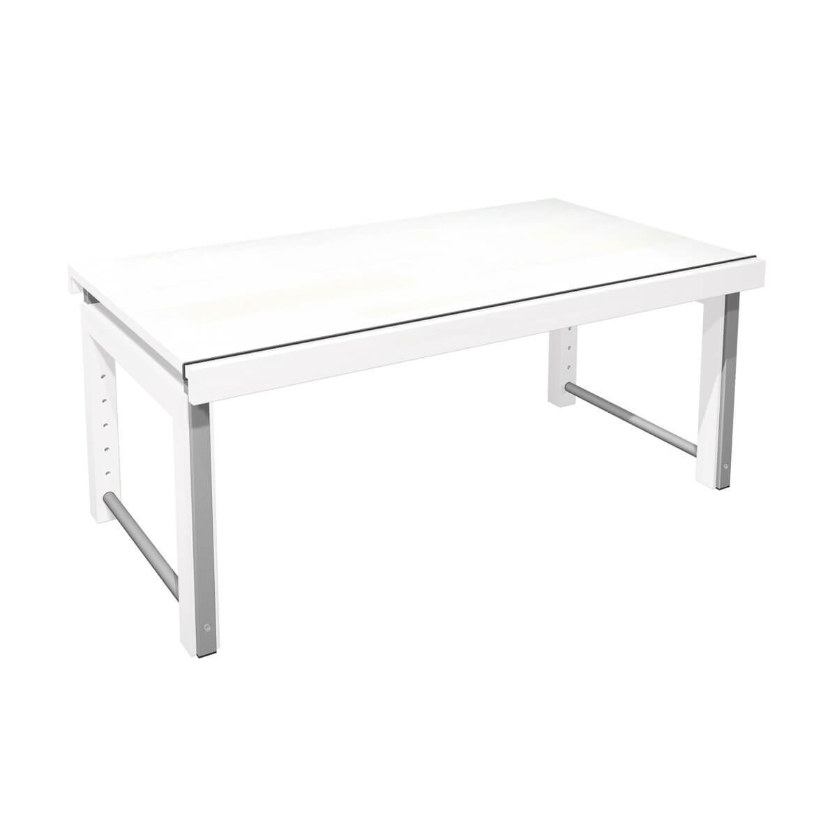 Schreibtisch durchgehende Platte ZIGGY de Breuyn Buche weiß gebeizt-lackiert Gestell metallic