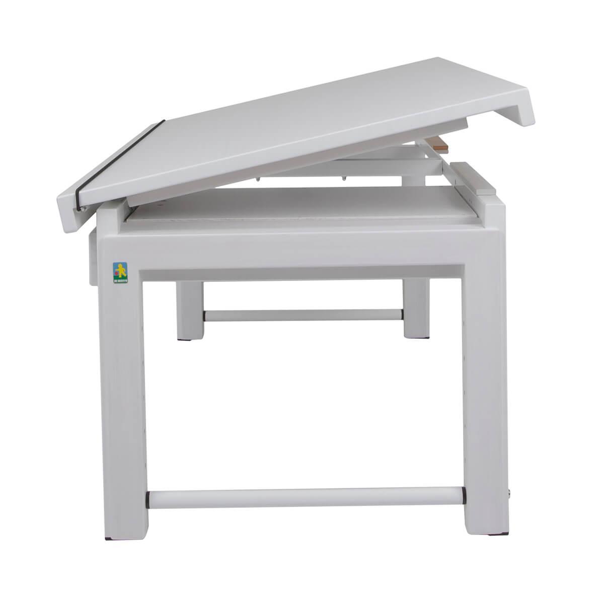 Schreibtisch durchgehende Platte ZIGGY de Breuyn Buche weiß gebeizt-lackiert Gestell weiß