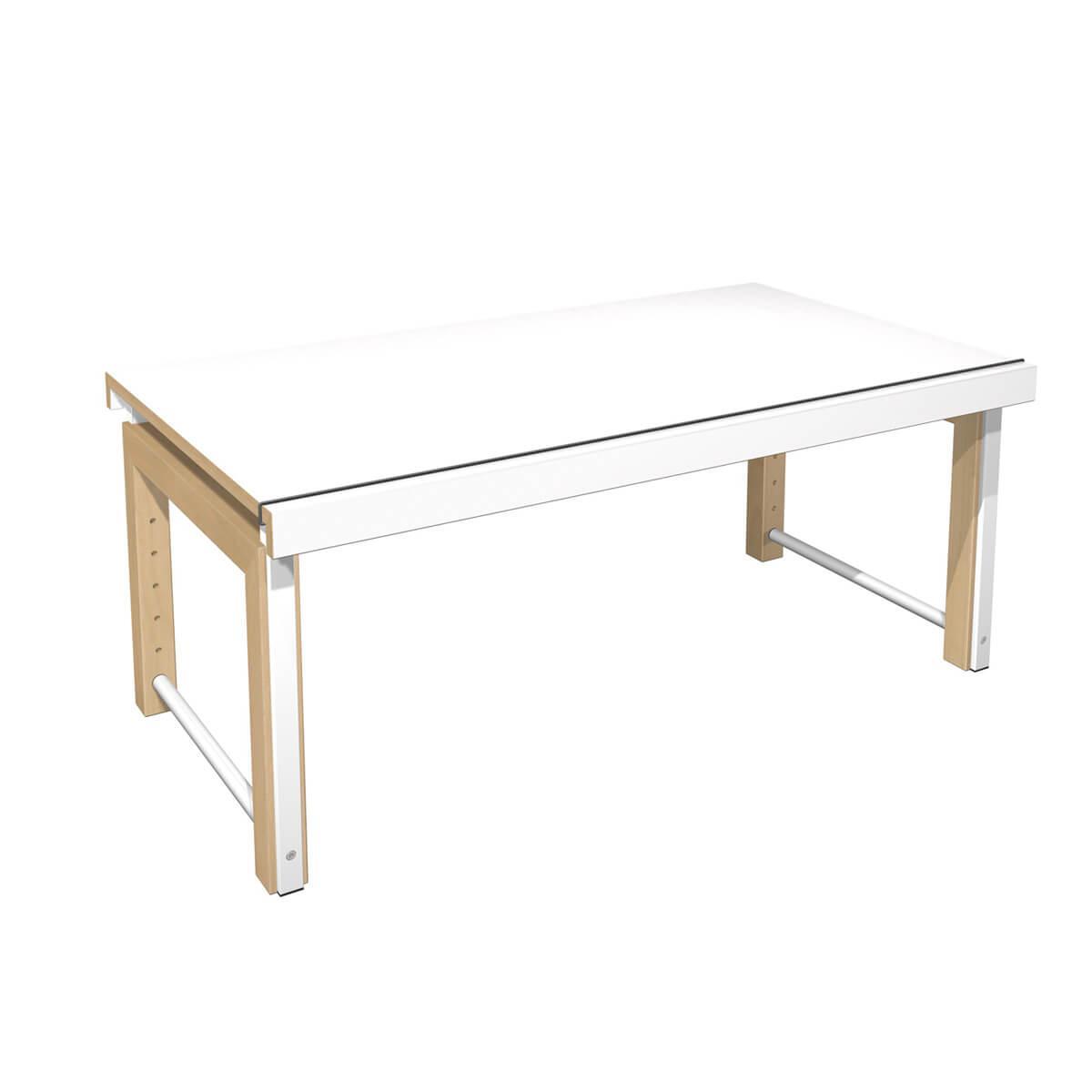 Schreibtisch durchgehende Platte ZIGGY de Breuyn Multiplex Buchenrahmen Gestell weiß