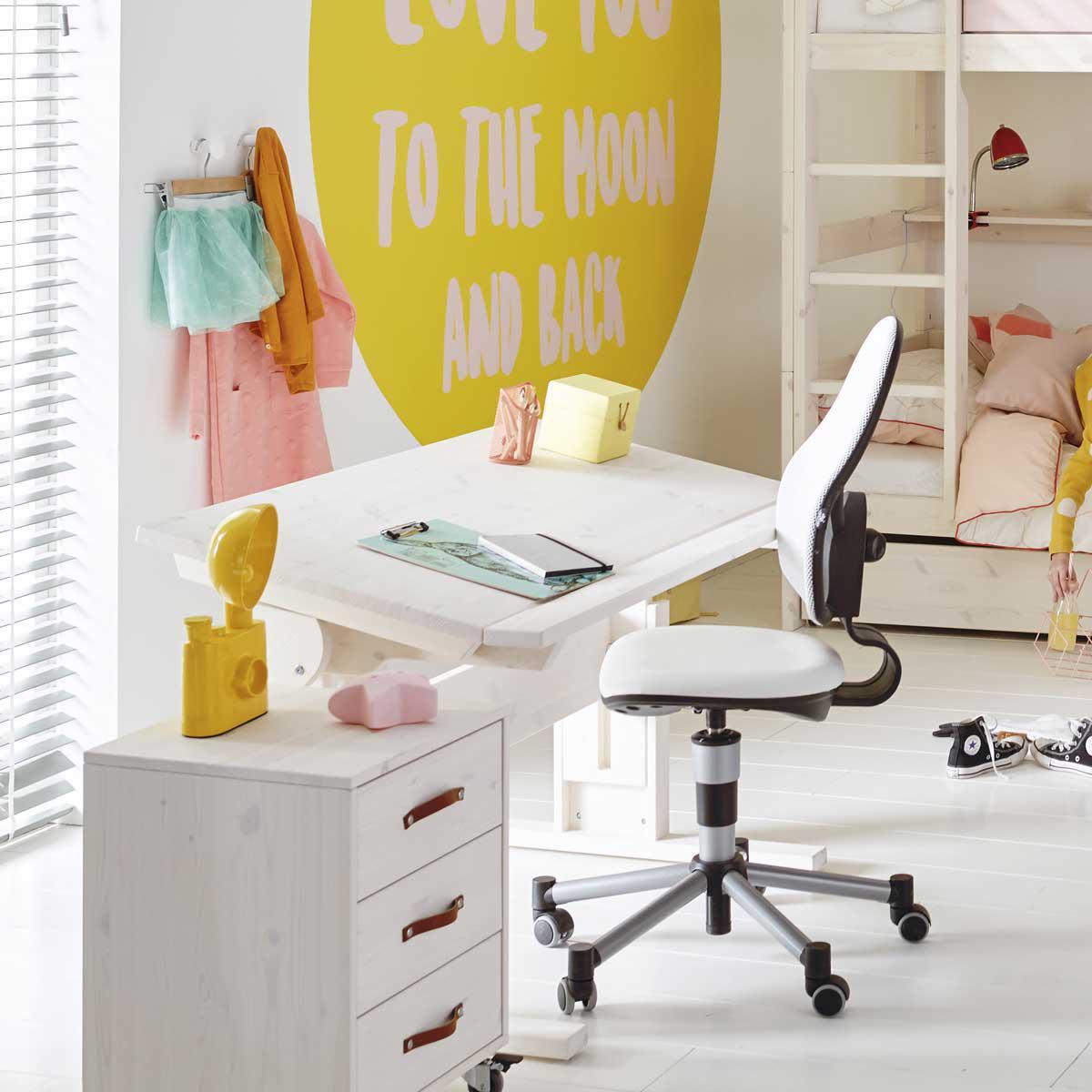Schreibtisch höhenverstellbar+neibar + 1 Schublade Lifetime whitewash