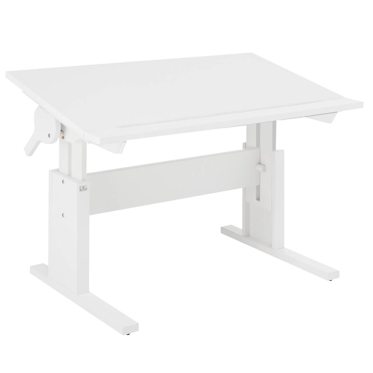 Schreibtisch höhenverstellbar+neibar 120cm Lifetime weiß