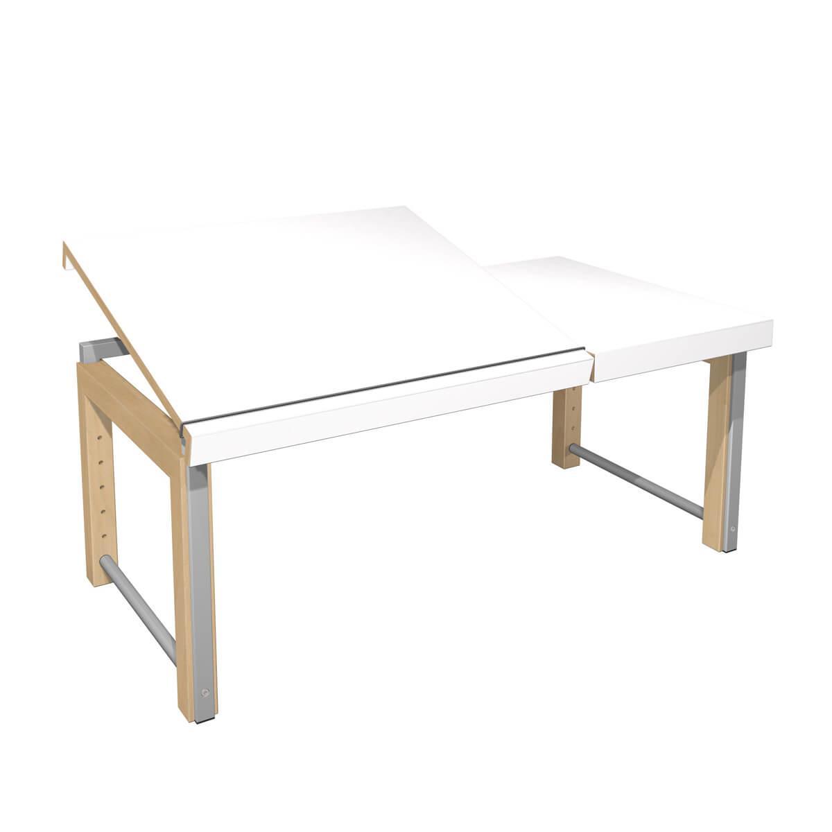 Schreibtisch Ziggy DECOR Debreuyn geteilte Platte-Multiplex Buchenrahmen Gestell metallic