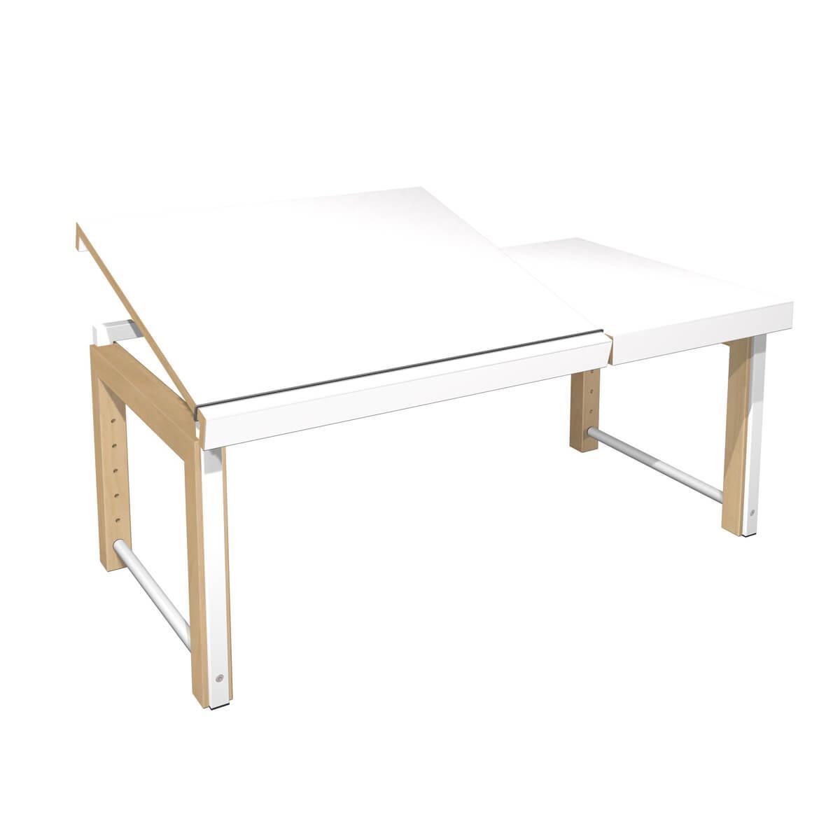 Schreibtisch Ziggy DECOR Debreuyn geteilte Platte-Multiplex Buchenrahmen Gestell weiß