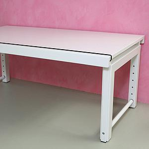 Schreibtisch Ziggy DETAIL Debreuyn durchgehende Platte deluxe Buche weiß gebeizt-lackiert Gestell weiß