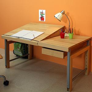 Schreibtisch Ziggy DETAIL Debreuyn geteilte Platte deluxe Buche massiv-geölt Gestell metallic