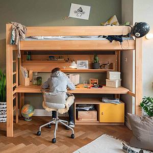 Schreibtischplatte Hochbett-Bettzusatz DESTYLE de Breuyn Buchenfurnierte Spanplatte natur geölt