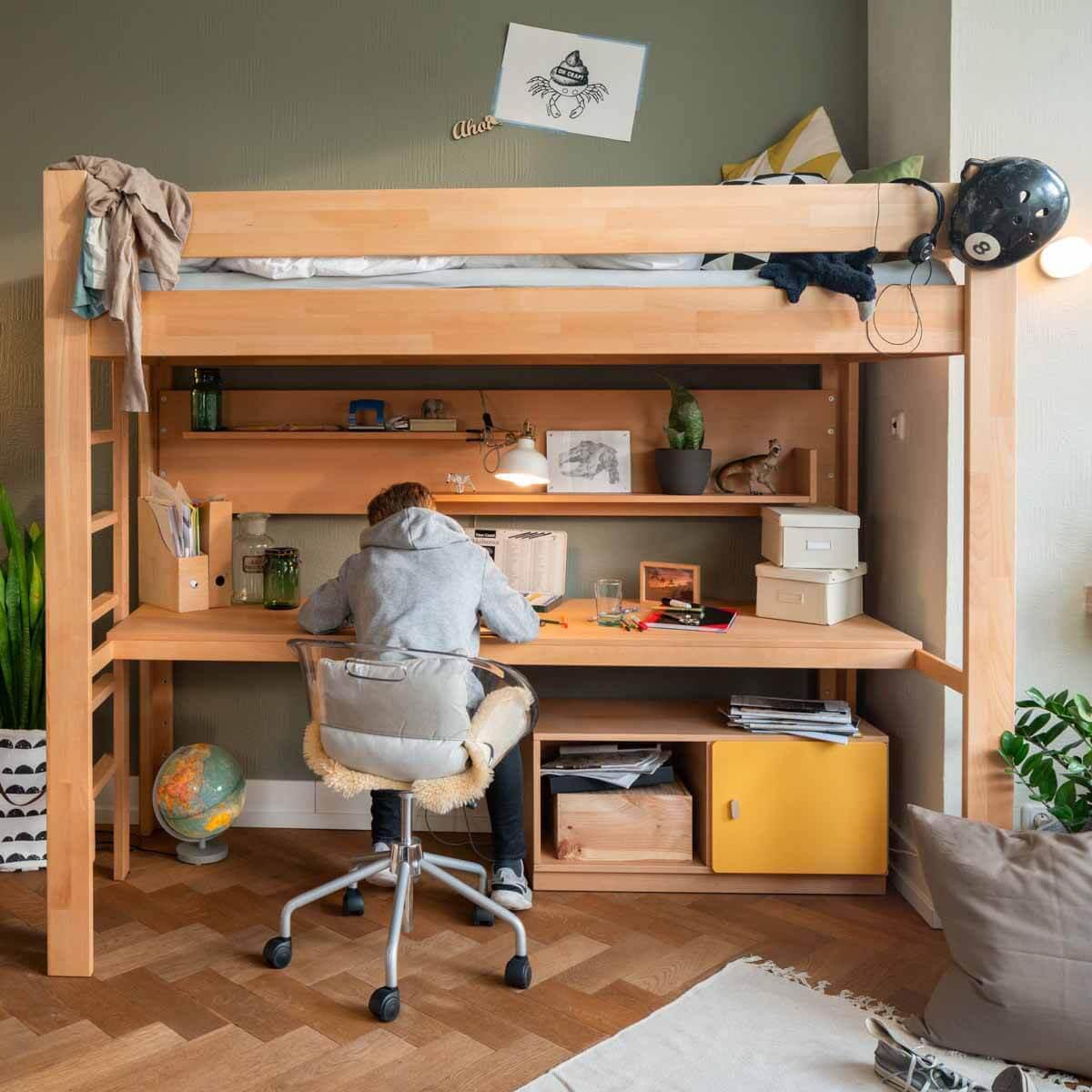 Schreibtischplatte Hochbett-Bettzusatz DESTYLE Debreuyn Buchenfurnierte Spanplatte natur geölt