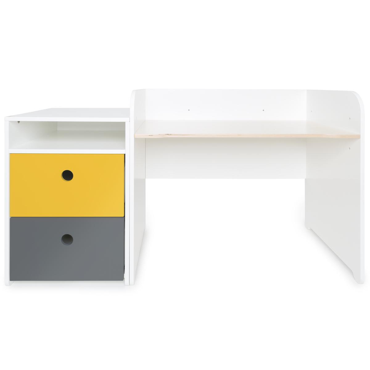 Schreibtish mitwachsend-Anstellregal 2 Schubladen COLORFLEX Abitare Kids nectar yellow-space grey