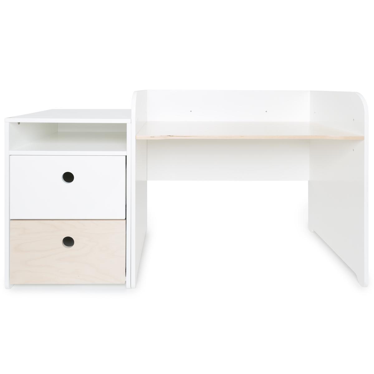 Schreibtish mitwachsend-Anstellregal 2 Schubladen COLORFLEX Abitare Kids white-white wash