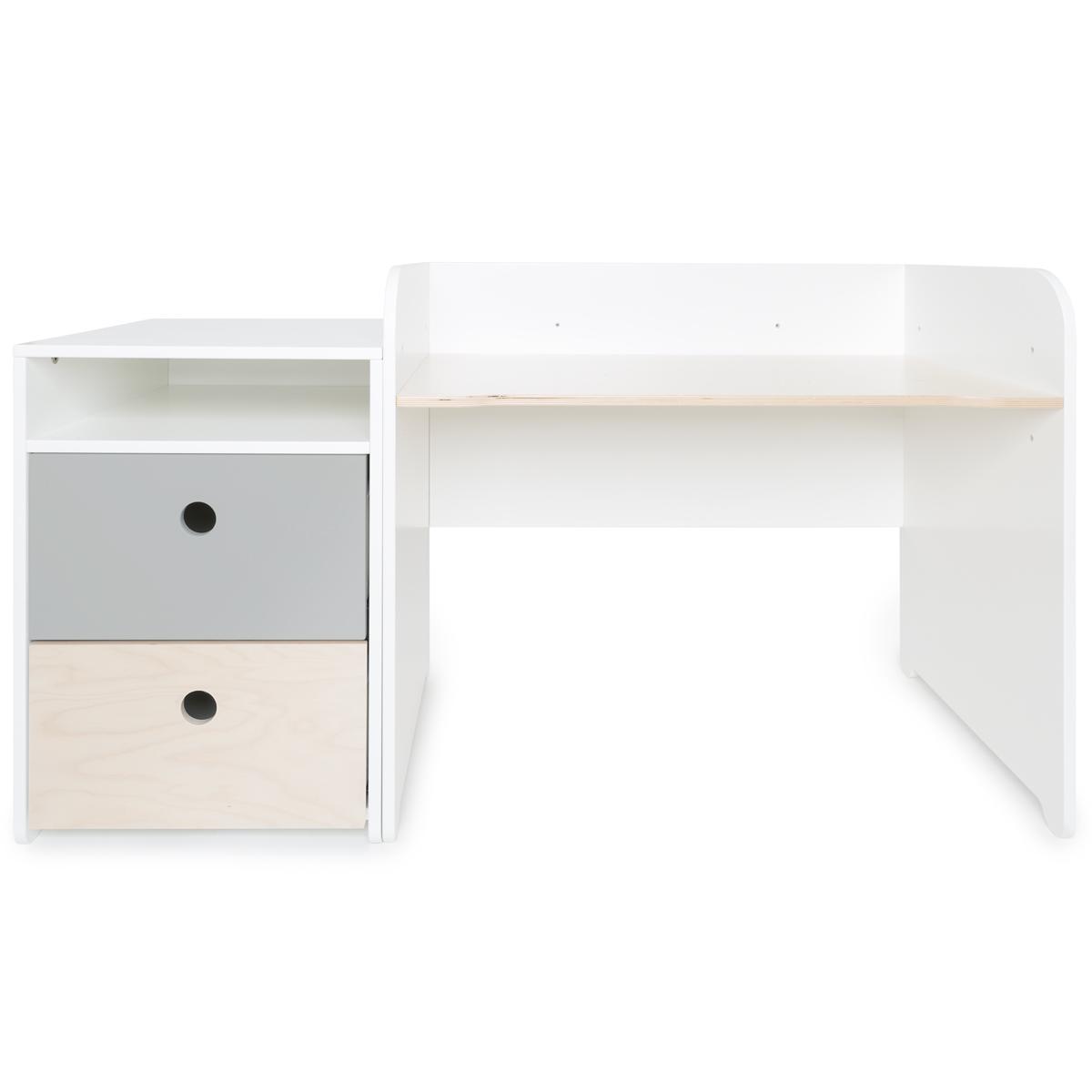 Schreibtish mitwachsend-Anstellregal 2 Schubladen COLORFLEX pearl grey-white wash