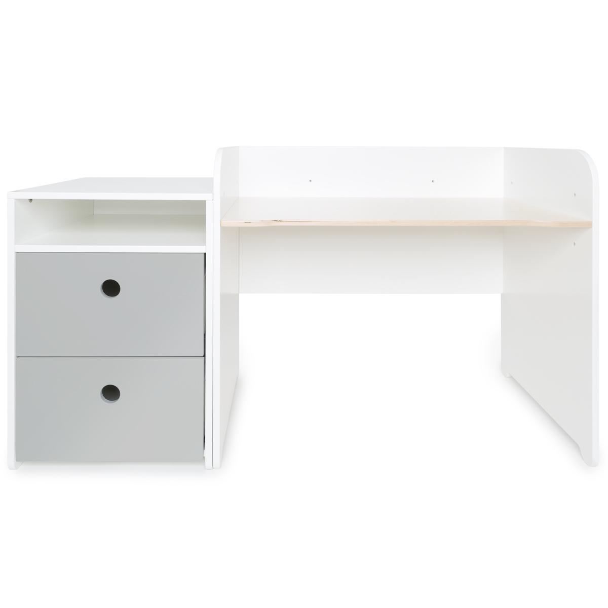 Schreibtish mitwachsend-Anstellregal 2 Schubladen COLORFLEX pearl grey