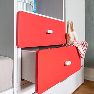 Schubladenblende einzeln 17cm-Griff DESTYLE de Breuyn MDF rot-lackiert