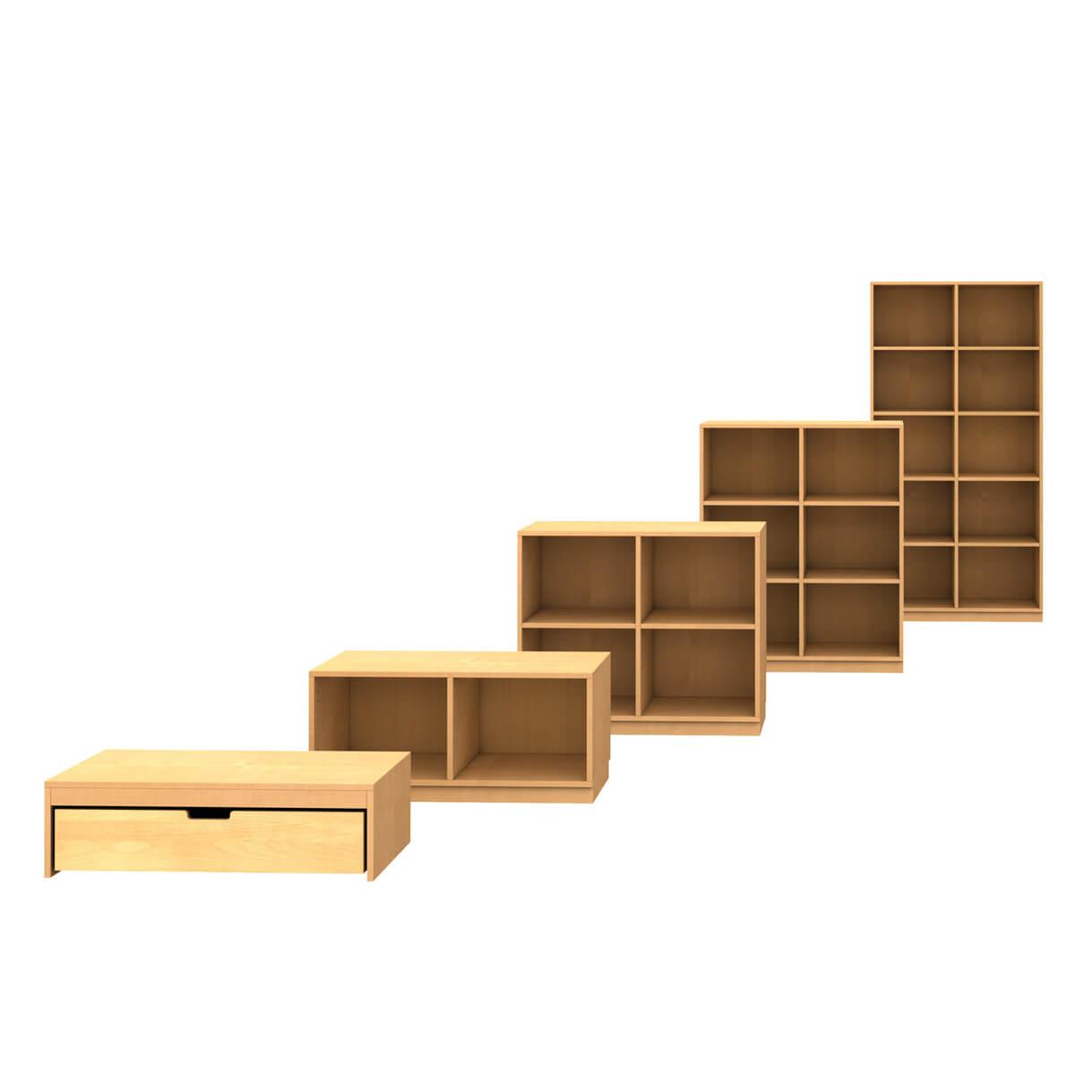 Schubladenpodest 27x93x40cm-Rollkasten DESTYLE Debreuyn Buchenfurnierte Spanplatte natur geölt
