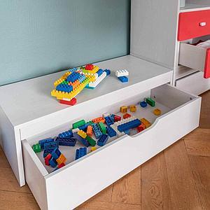 Schubladenpodest 27x93x40cm-Rollkasten DESTYLE Debreuyn Buchenfurnierte Spanplatte weiß gebeizt-lackiert