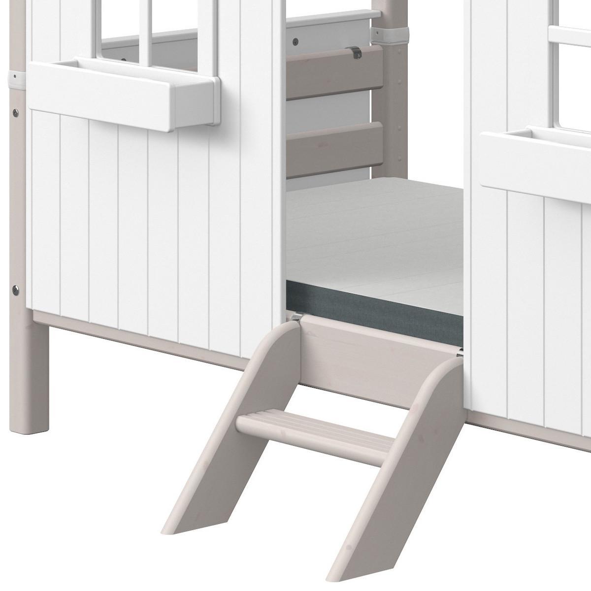 Spielbett Baumhau 90x200cm 1-2 PLAY HOUSE CLASSIC Flexa grey washed-weiß