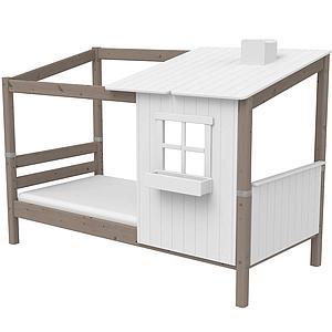 Spielbett Baumhaus 90x190cm 1/2 PLAY HOUSE CLASSIC Flexa terra-weiß
