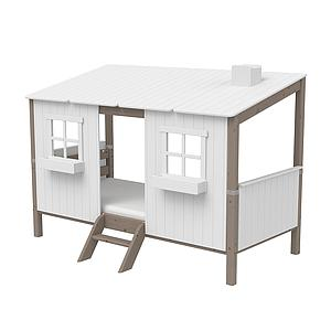 Spielbett Baumhaus 90x200cm 1/1 PLAY HOUSE CLASSIC Flexa terra-weiß