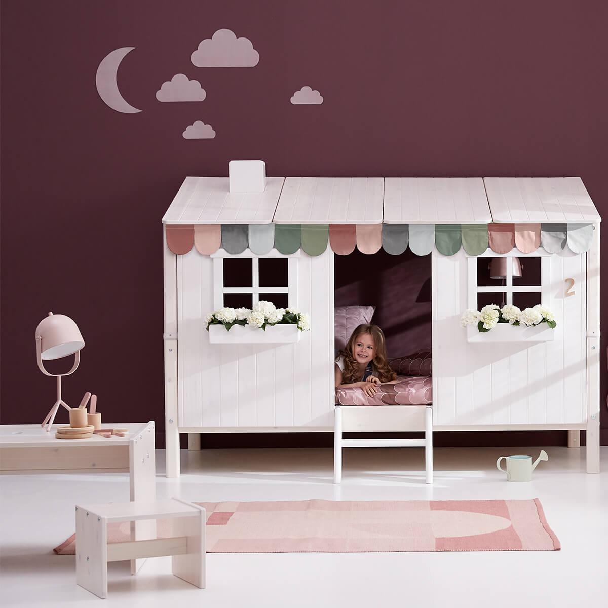 Spielbett Baumhaus 90x200cm 1/2 PLAY HOUSE CLASSIC Flexa terra-weiß