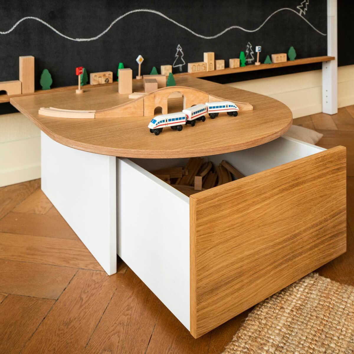 Spieltisch KASVA Debreuyn Multiplex weiß-lackiert Eiche-furniert