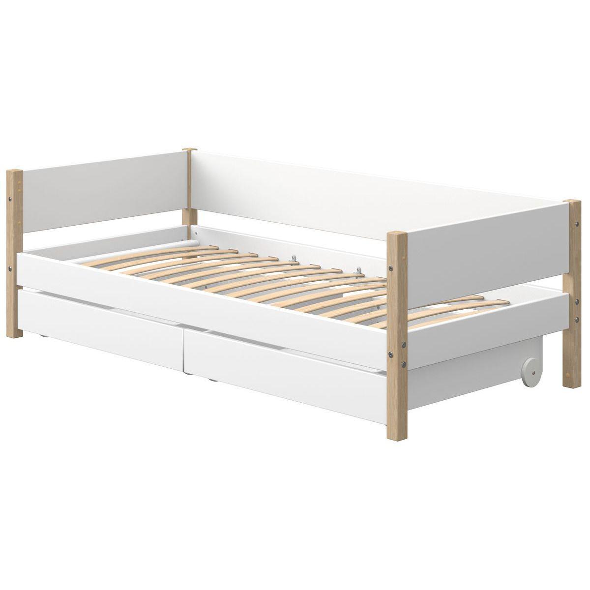Tagesbett mitwachsend 200x90cm 2 Schubladen NOR Eiche-weiß