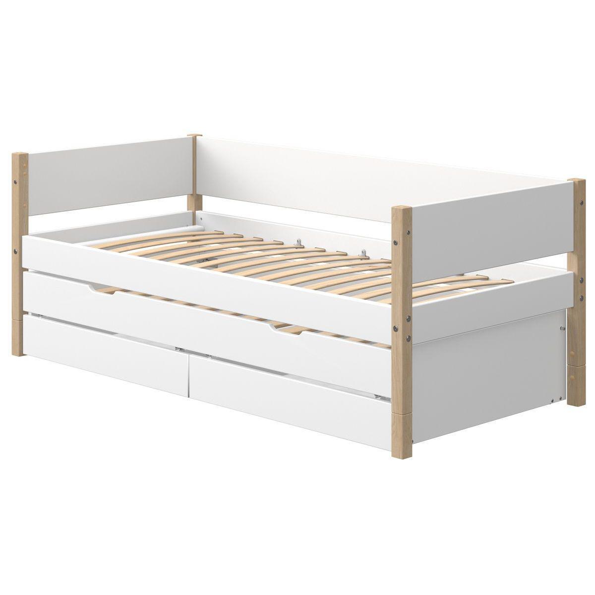 Tagesbett mitwachsend 200x90cm Ausziehbett-2 Schubladen NOR Eiche-weiß